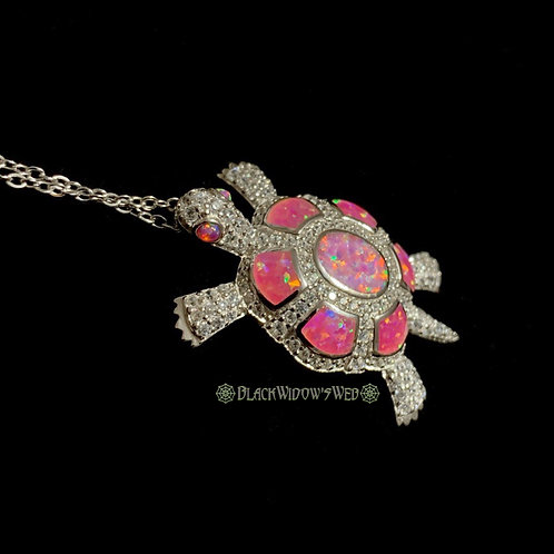 Turtle, Pink Opal, Sterling Silver Necklace