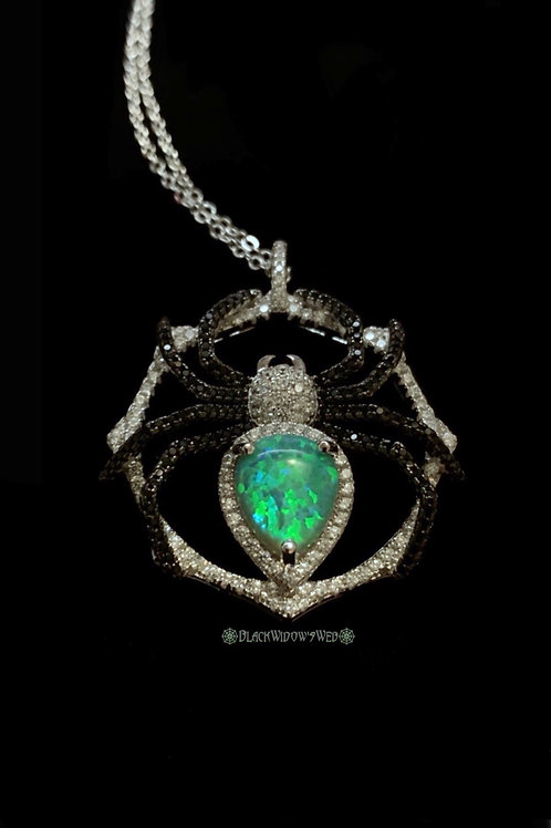 Green Opal Sterling Silver Spider Necklace