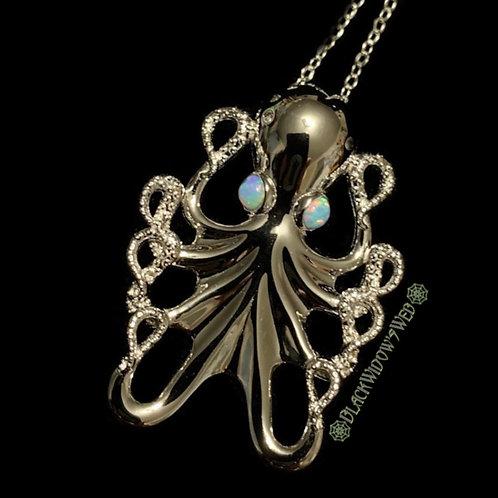 Lightning Eyed Kraken Sterling Silver Necklace
