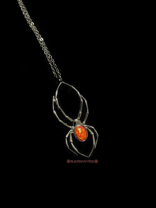 Orb Weaver Fire Opal Black Sterling Silver Necklace