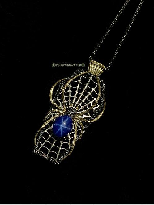 Webbed Casket Golden Orb Spider Sterling Silver Necklace