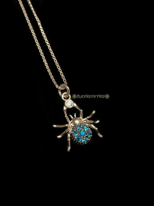 Spider Aquamarine Sterling Silver Necklace