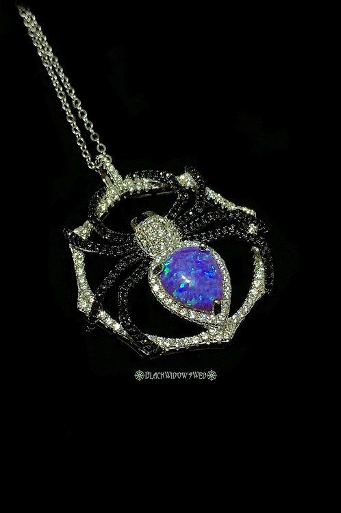 Violet Blue Opal Sterling Silver Spider Necklace