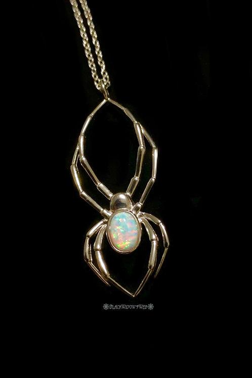 Orb Weaver White Fire Opal Sterling Silver Necklace