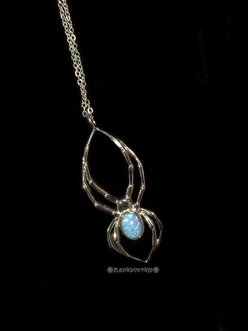 Orb Weaver Blue Fire Opal Sterling Silver Necklace