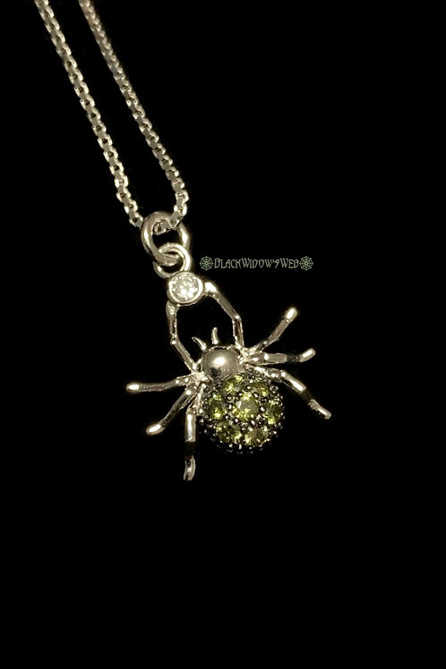 Spider Peridot Sterling Silver Necklace