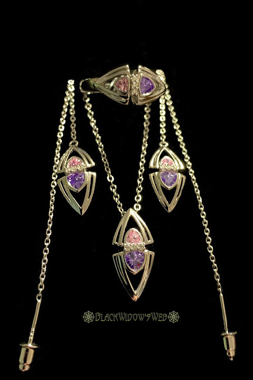 Kunzite/Amethyst Necklace, Earrings and Ring Sterling Silver Set