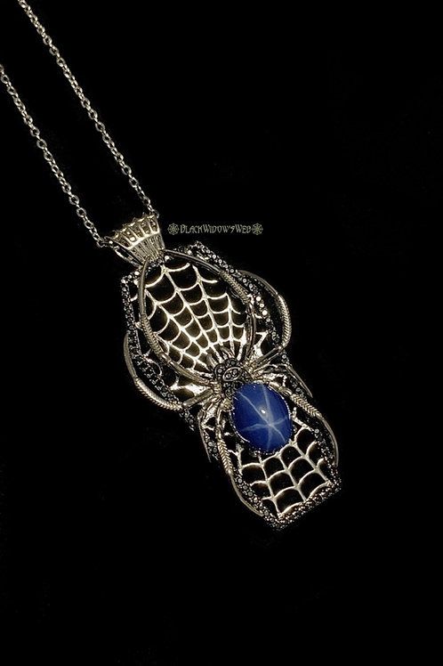 Webbed Casket Silver Orb Spider Sterling Silver Necklace