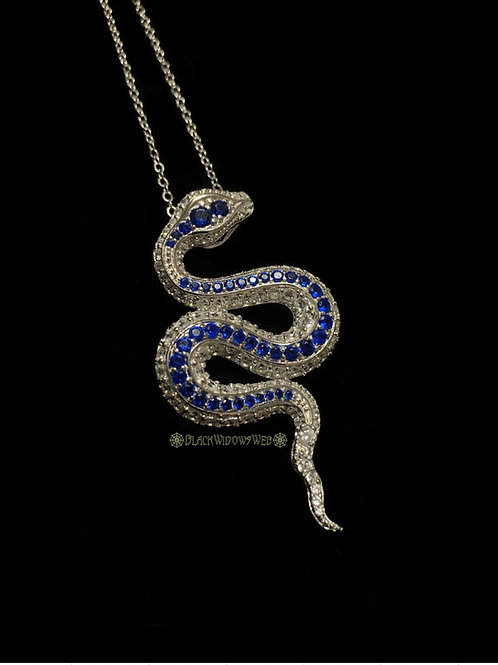 Blue Serpent, Sterling Silver Necklace