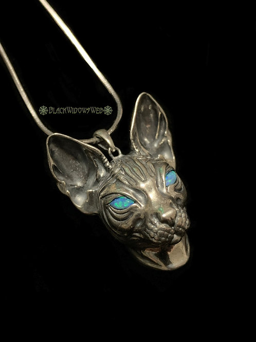 BlueEyed Bastet, Sterling Silver Necklace