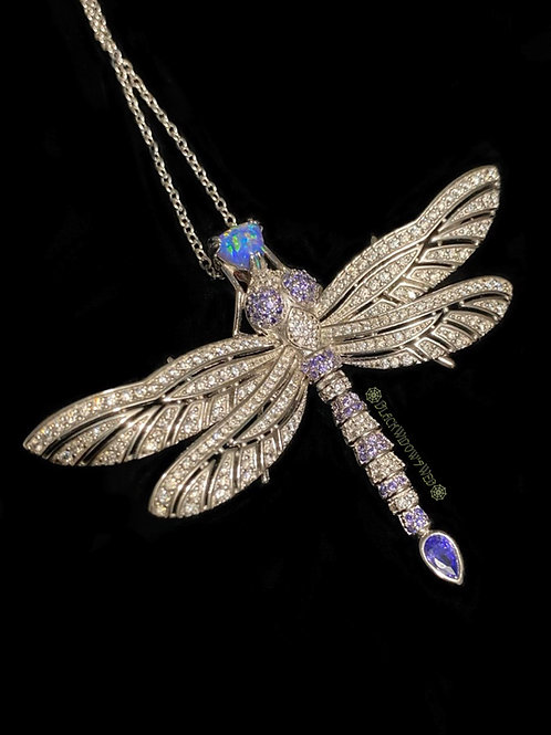 Violette Haze Dragonfly, Sterling Silver Necklace and Pin