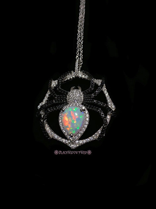 White Fire Opal Sterling Silver Spider Necklace