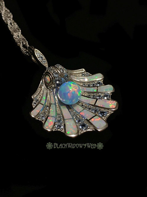 Scallop Shell Opal & Aquamarine Sterling Silver Necklace