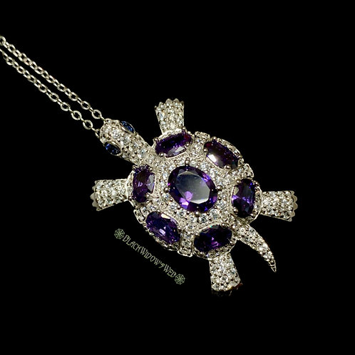 Turtle, Amethyst, Sterling Silver Necklace