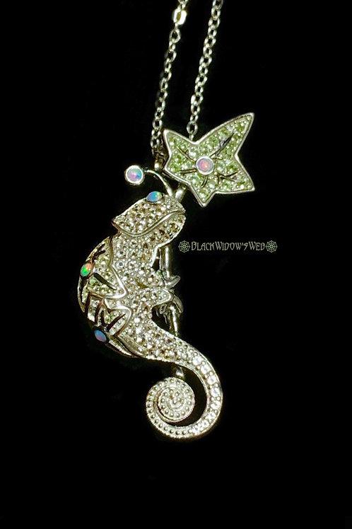 Golden Chamelion, Sterling Silver Necklace