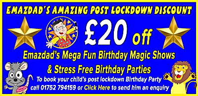birthday magic entertainment discount plymouth devon cornwall