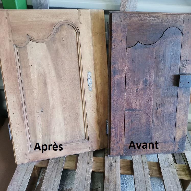 Aerogommage porte meuble en chêne