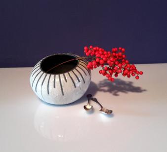 vaso in ceramica raku con decoro STRIPE