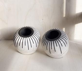 coppia di vasi in ceramica raku con decoro STRIPE
