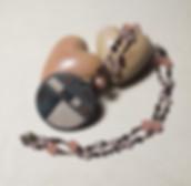 collana a rosario con pendente in ceramica raku