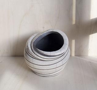 vaso raku con decoro LINEA INFINITA