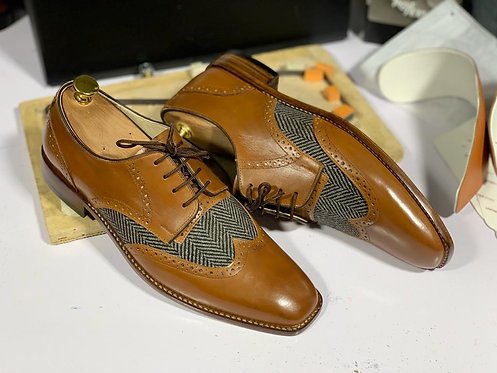 Hand Painted Tan & Black Denim Brogue Lace Up Leather Shoes