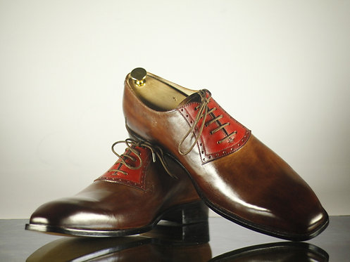Bespoke Men Wing Tip Brown Oxford Leather Shoes