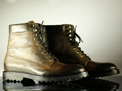Handmade Men's Brown Ankle Military Leather Formal Boots