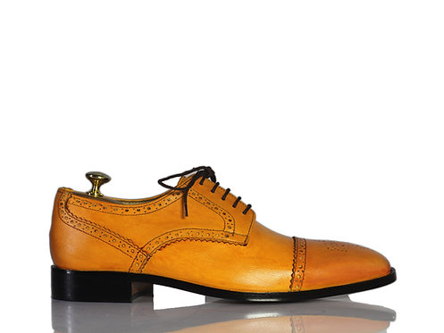 Tan Oxford Leather Shoes, Men Cap toe dress Designer Shoes