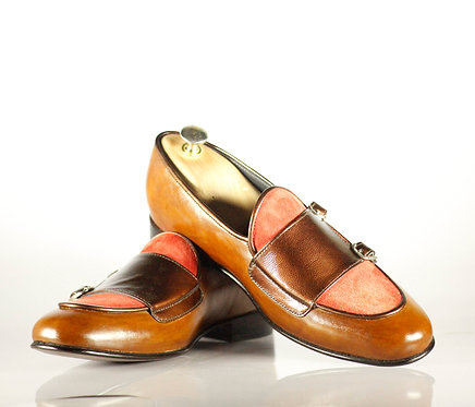 Handmade Multi Color Double Monk Straps Leather Suede Dress Men Shoes
