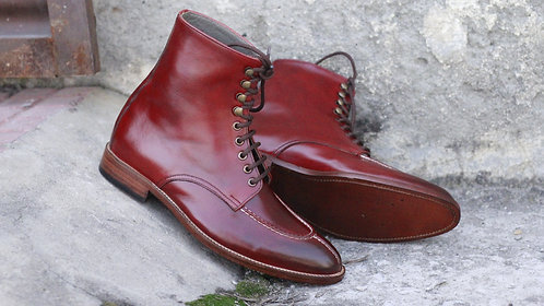 Ankle High Split Toe Burgundy Leather Boot