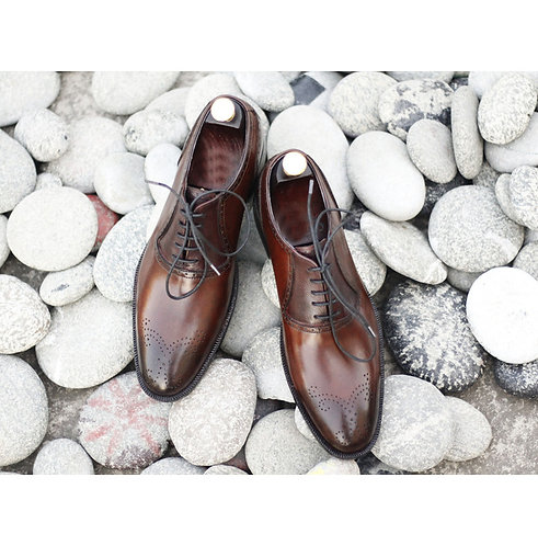 Handmade Men's Brown Brogues Toe Shoes, Men's Leather Lace Up Formal Shoes
