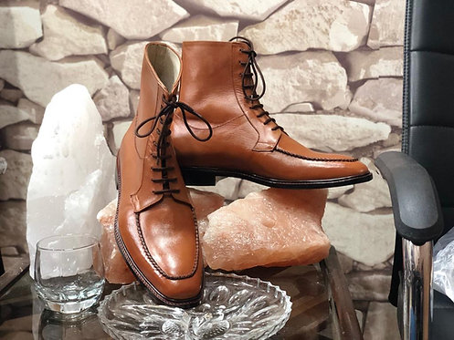 Men's Brown Round Toe Ankle Leather Boots, Bespoke Lace Up Dress Boot