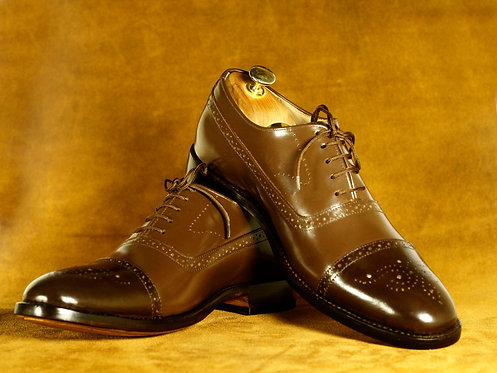 Classy Brown Lace Up Brogue Cap Toe Leather Shoes