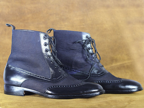 Stylish Navy Blue Wing Tip Ankle High Leather Suede Boot