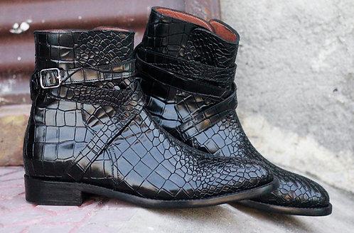 Hand Painted Men's Black Jodhpurs Alligator Texture Dress Ankle boots