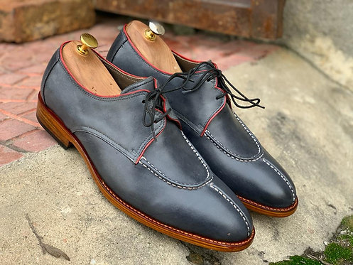 Pure Leather Gray Split Toe Lace Up Shoes