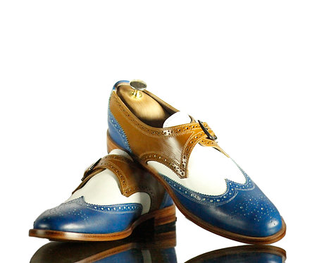 New Handmade Men Multi Color Wing Tip Leather Buckle Shoes