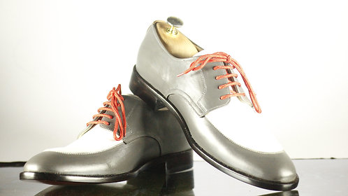 Handmade White & Gray Lace Up Dress Shoes, Men Oxford Shoes