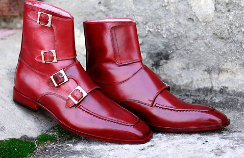 Luxury Burgundy Round Toe Monk Leather Boot