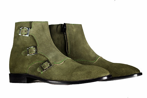 Ankle High Monk Style Leather Suede Men's Boot