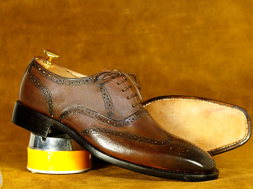 Hand Crafted Brown Wing Tip Brogue Leather Shoes