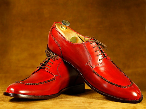 All leather Men Burgundy Shoes Split Toe Shoes