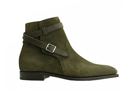 Men's Jodhpurs Green Leather Boots Buckle Designer Boots