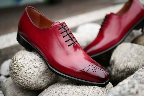 Handmade Mens Burgundy Brogue Oxfords Party shoes, Men leather dress shoes