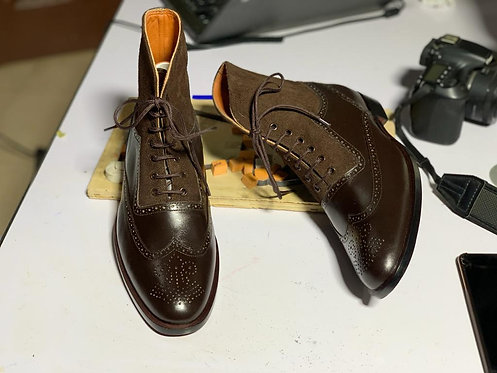 Oxford Wing Tip Brogue Cordovan Leather Boot