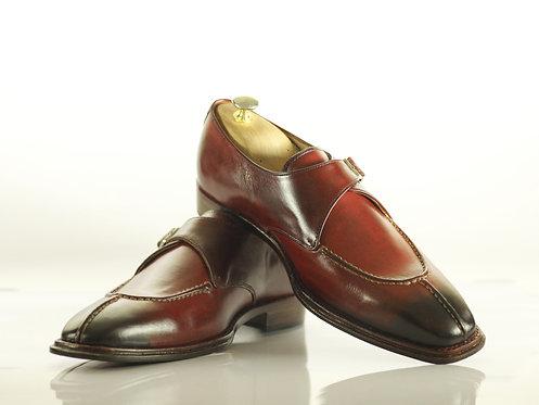 Men Burgundy Shoes Split Toe Monk Straps Dress Shoes
