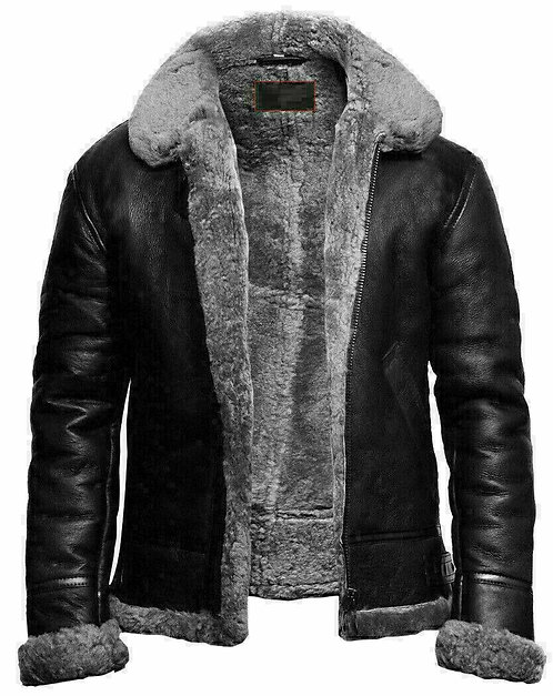 Mens Aviator RAF B3 Black Bomber Fur Shearling Collar Sheepskin Leather Jackets