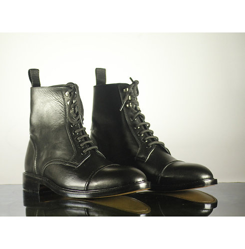 Men Black Ankle Cap Toe Lace Up Dress Boot,Handmade Designer Boots