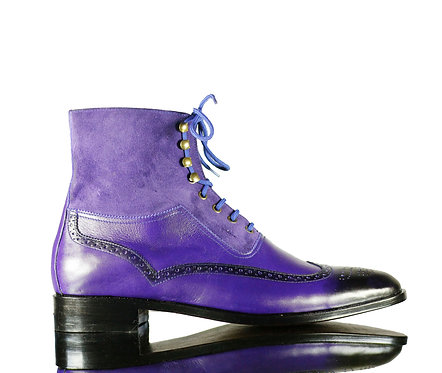 Men's Purple Blue Leather Lace up Boots